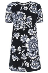 Quiz Black And Grey Flower Tunic Dress