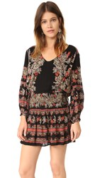 Free People Moonlight Drive Print Mini Dress Black Combo