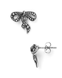 Marc Jacobs Bow Stud Earrings Antique Silver