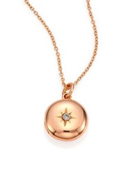 Astley Clarke Diamond And 14K Rose Gold Small Astley Locket Necklace