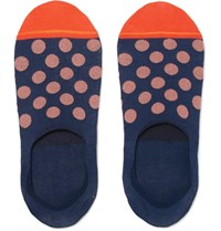 Paul Smith Polka Dot Mercerised Cotton Blend No Show Socks Navy