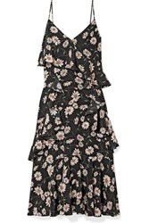 Michael Kors Collection Ruffled Floral Print Silk Crepe De Chine Dress Black