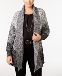 Charter Club Plus Size Open Front Colorblocked Cardigan Only At Macy's Deep Black Combo