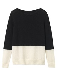 Toast Colour Block Mohair Jumper Black Off White