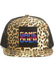 Saint Laurent Leopard Print Trucker Cap Black