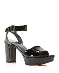 Stuart Weitzman Realdeal Patent Leather High Heel Platform Sandals Black
