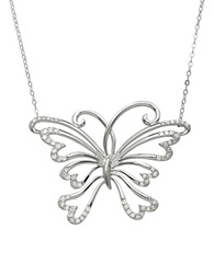 Lord And Taylor 14Kt. White Gold And Diamond Butterfly Necklace