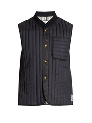 Moncler Gamme Bleu Logo Patch Quilted Down Gilet Navy