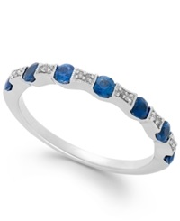 Macy's Sapphire 1 2 Ct. T.W. And Diamond Accent Band In 14K White Gold Blue