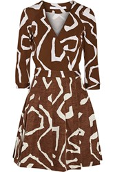 Diane Von Furstenberg Jewel Printed Silk Blend Wrap Dress Brown