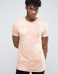 Asos Longline T Shirt With All Over Bleach Wash Blonde Beige
