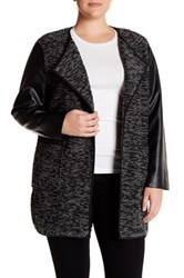 Live A Little Faux Leather Boucle Knit Jacket Plus Size Black