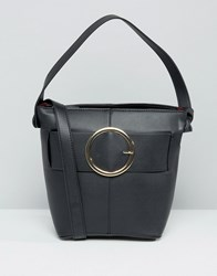 Mango Buckle Detail Cross Body Bag Black