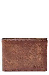 Fossil 'Derrick' Leather Bifold Wallet Brown