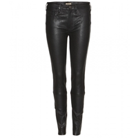 True Religion Halle Leather Super Skinny Trousers Black
