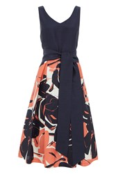 Roman Originals Contrast Floral Fit And Flare Dress Coral