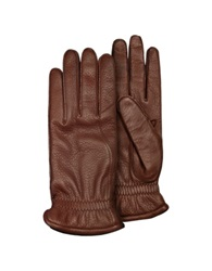 Pineider Men's Brown Deerskin Leather Gloves W Cashmere Lining