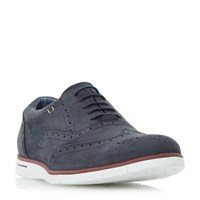 Dune Branson White Wedge Sole Brogues Navy