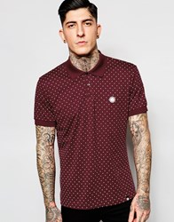 Pretty Green Polo Shirt With Polka Dot In Red Burgun