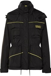 Kenzo Embroidered Shell Hooded Jacket Black