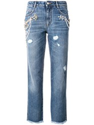 Ermanno Scervino Cropped Fitted Jeans Cotton Polyester Blue