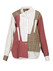 Loewe Asymmetric Patchwork Poplin Shirt Brown Multi