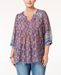 Eyeshadow Trendy Plus Size Semi Sheer Peasant Blouse Blue Print