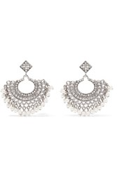 Kenneth Jay Lane Silver Tone Crystal And Faux Pearl Earrings One Size