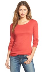 Women's Caslon Long Sleeve Scoop Neck Cotton Tee Red Beauty
