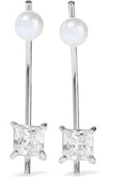 Kenneth Jay Lane Silver Tone Crystal And Faux Pearl Earrings Silver