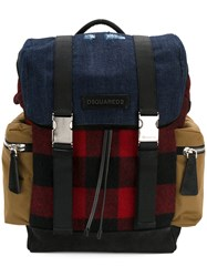 Dsquared2 Military Buckle Backpack Men Cotton Suede Wool One Size