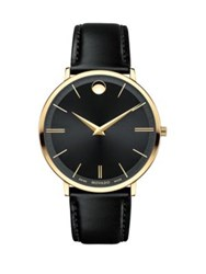 Movado Ultra Slim Goldplated Stainless Steel Calfskin Leather Strap Watch Black