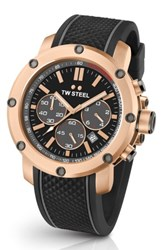 Tw Steel Men's Grandeur Tech Silicone Strap Watch 48Mm Black Rose Gold