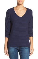 Women's Gibson 'Yummy Fleece' High Low V Neck Pullover Navy Stripe