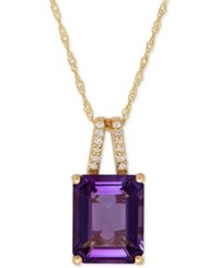 Macy's Amethyst 2 9 10 Ct. T.W. And Diamond Accent Pendant Necklace In 14K Gold Yellow Gold