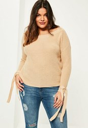 Missguided Plus Size Camel Tie Sleeve Bardot Jumper