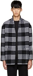 Tomorrowland Black Wool Plaid Coat