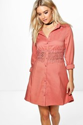 Boohoo Lace Crochet Waist Shirt Dress Antique Rose