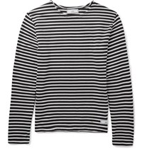 Ami Alexandre Mattiussi Slim Fit Striped Cotton T Shirt Navy