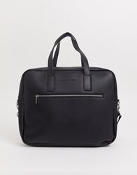 French Connection Faux Leather Messenger Bag Black