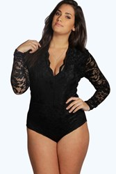 Boohoo Molly Lace Long Sleeved Bodysuit Black