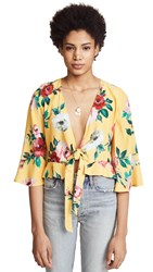 Backstage Mia Tie Front Top Large Yellow Floral