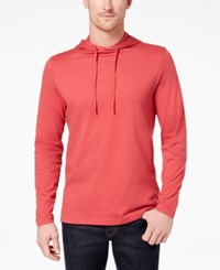 Club Room Men's Jersey Hooded Shirt Created For Macy's Tomato