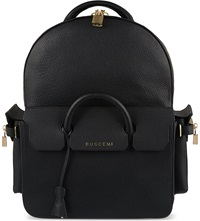 Buscemi Handle Leather Backpack Black