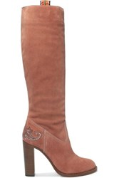 Etro Embroidered Suede Knee Boots Pink
