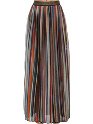 Missoni High Waist Pleated Lame Knit Skirt Multicolor