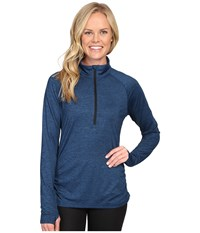 Lucy Inner Spark 1 2 Zip Poseidon Black Heather Women's Long Sleeve Pullover Blue