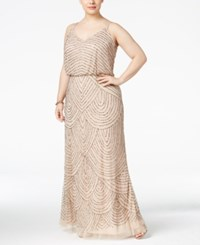 Adrianna Papell Plus Size Beaded Blouson Gown Taupe Pink