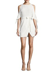 Lucca Couture Solid Cold Shoulder Dress White