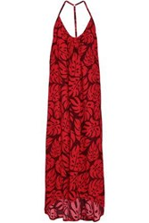 Mikoh Woman Open Back Printed Woven Maxi Dress Red